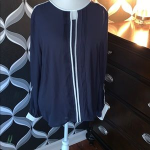 Navy and White Dress Blouse